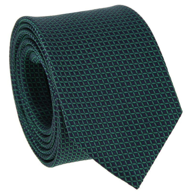 Navy Blue Tie with Green Squares in Silk - Arizona