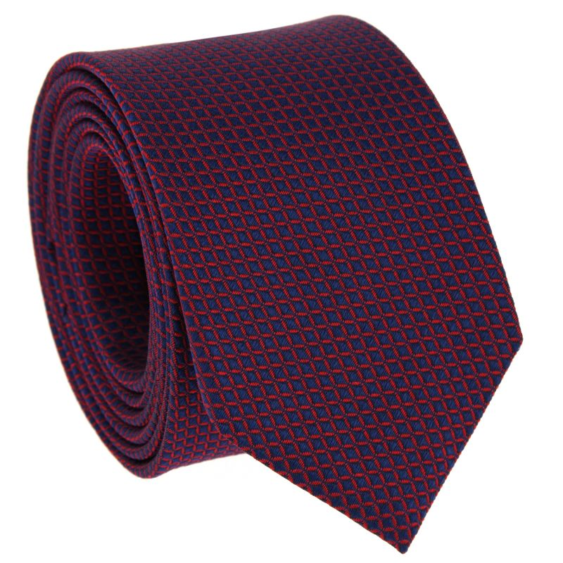 Navy Blue Tie with Red Squares in Silk - Arizona