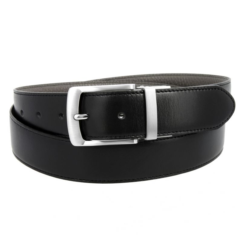 Reversible belt in black leather and grey grained leather - Sergio