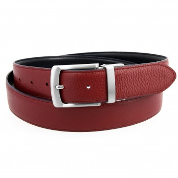Reversible belt in navy blue leather and burgundy grained leather - Sergio
