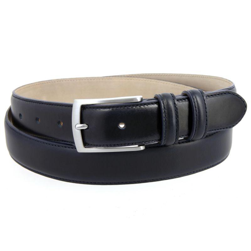 Navy blue leather belt - Ugo