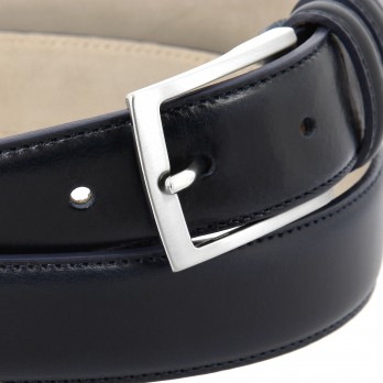 Navy blue leather belt - Ugo
