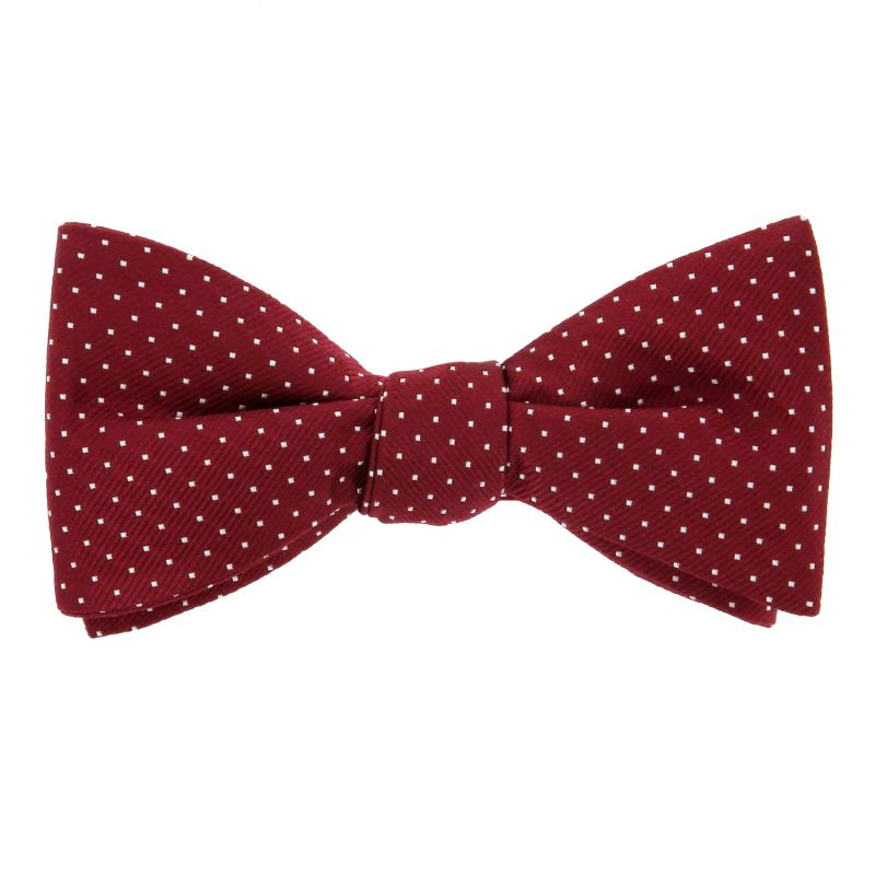 Burgundy Red with small polka dots bow tie
