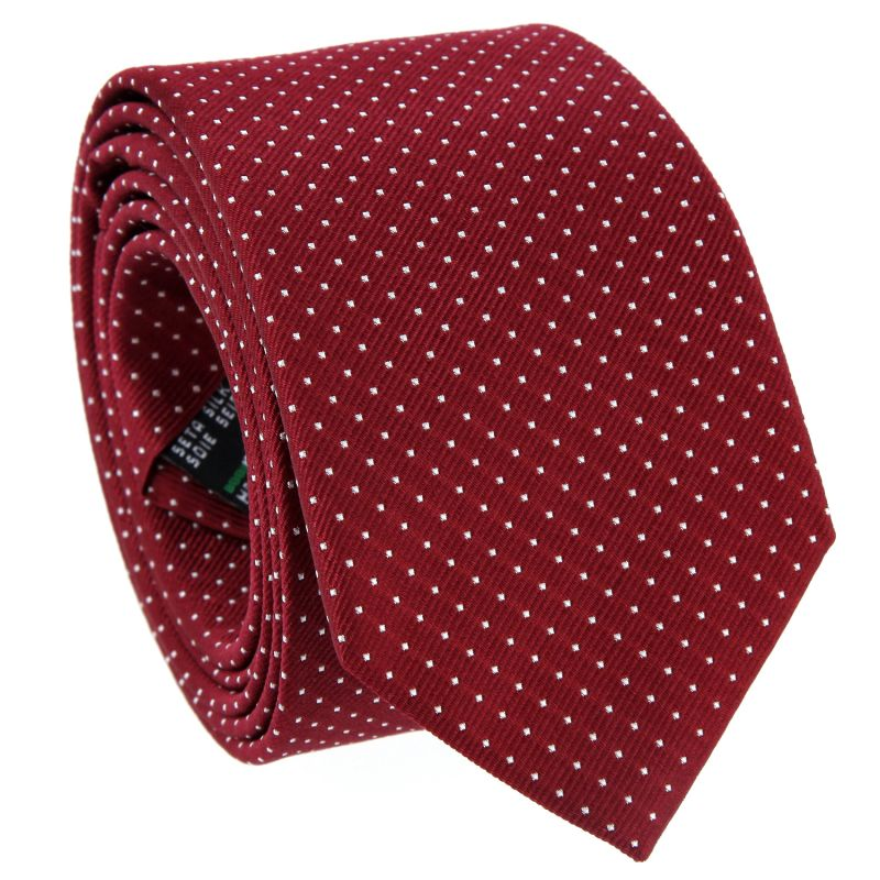 Burgundy Tie with White Dots in Silk - Washington DC