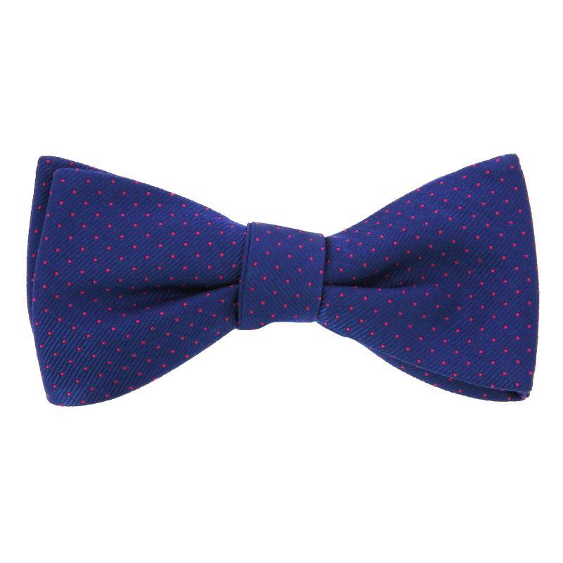 Cobalt Blue Bow Tie with Fuchsia Dots in Silk - Washington DC