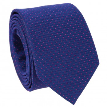 Cobalt Blue Tie with Fuchsia Dots in Silk - Washington DC