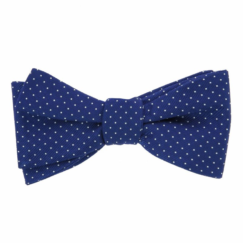 Blue Bow Tie with White Dots in Silk - Washington DC