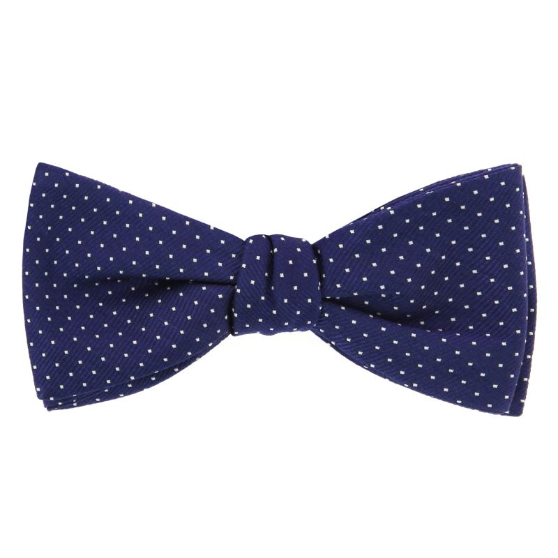 Navy Blue Bow Tie with White Dots in Silk - Washington DC