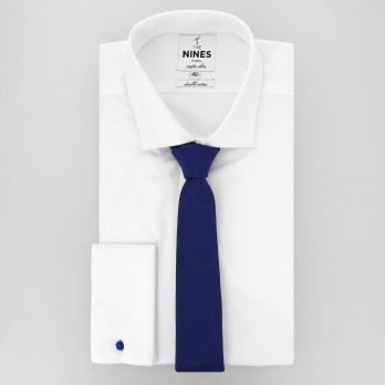 Indigo Blue Slim tie in Silk - Côme