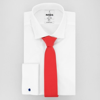 Coral Red Slim tie in Silk - Côme
