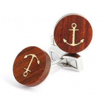 Wooden marine anchor cufflinks - Dinard