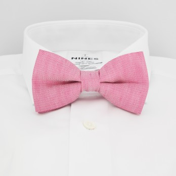Pink Bow Tie in Basket Weave Linen and Silk - Bergame