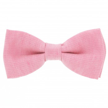 Light Pink Bow Tie in Basket Weave Linen and Silk - Bergame