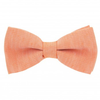 Orange Bow Tie in Basket Weave Linen and Silk - Bergame