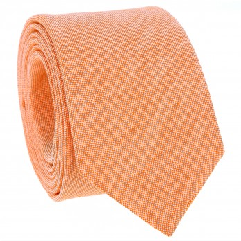 Orange Tie in Basket Weave Linen and Silk - Bergame