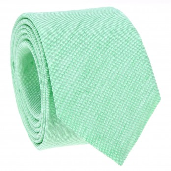 Water Green Tie in Basket Weave Linen and Silk - Bergame