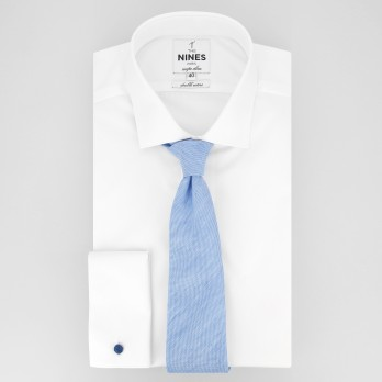 Light Blue Tie in Basket Weave Linen and Silk - Bergame