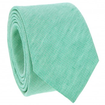 Green Tie in Basket Weave Linen and Silk - Bergame