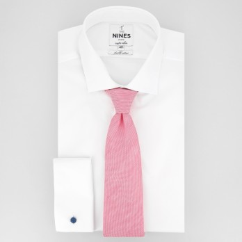 Light Pink Tie in Basket Weave Linen and Silk - Bergame