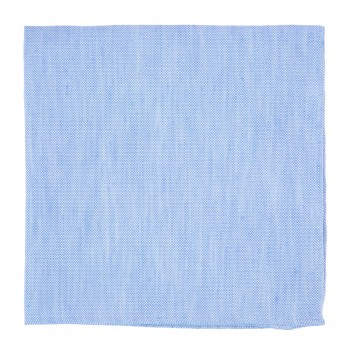 Light Blue Pocket Square in Basket Weave Linen and Silk - Bergame