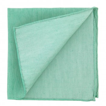 Green Pocket Square in Basket Weave Linen and Silk - Bergame