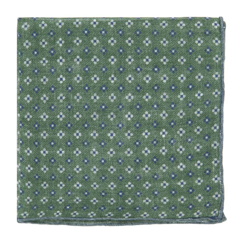 edff760921c3f Green Pocket Square with Blue Small Flowers - Pocket squares