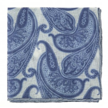 White Linen Pocket Square with Paisley Pattern