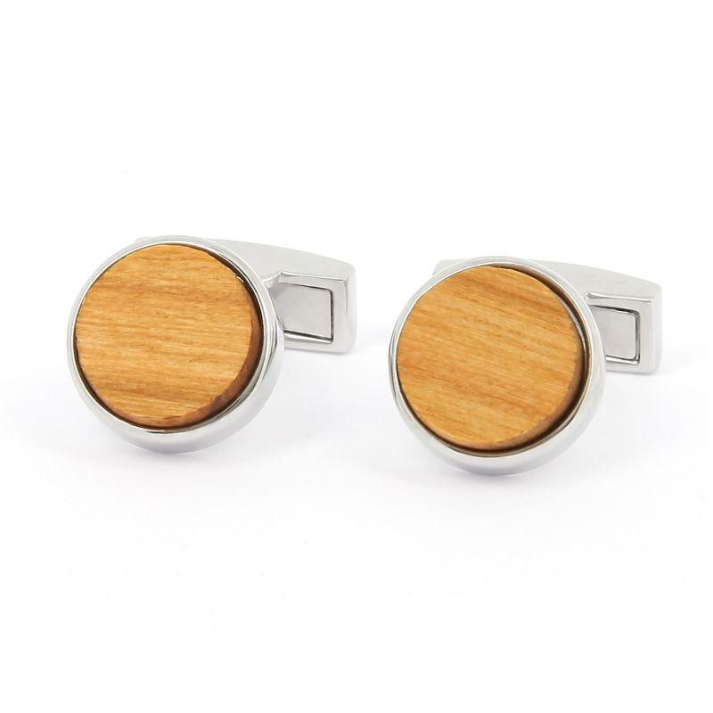 Wood round Compiegnes cufflinks