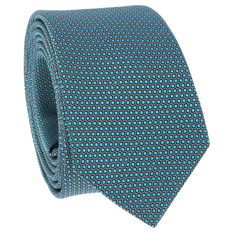 Green Tie with Honeycomb Pattern in Jacquard Silk