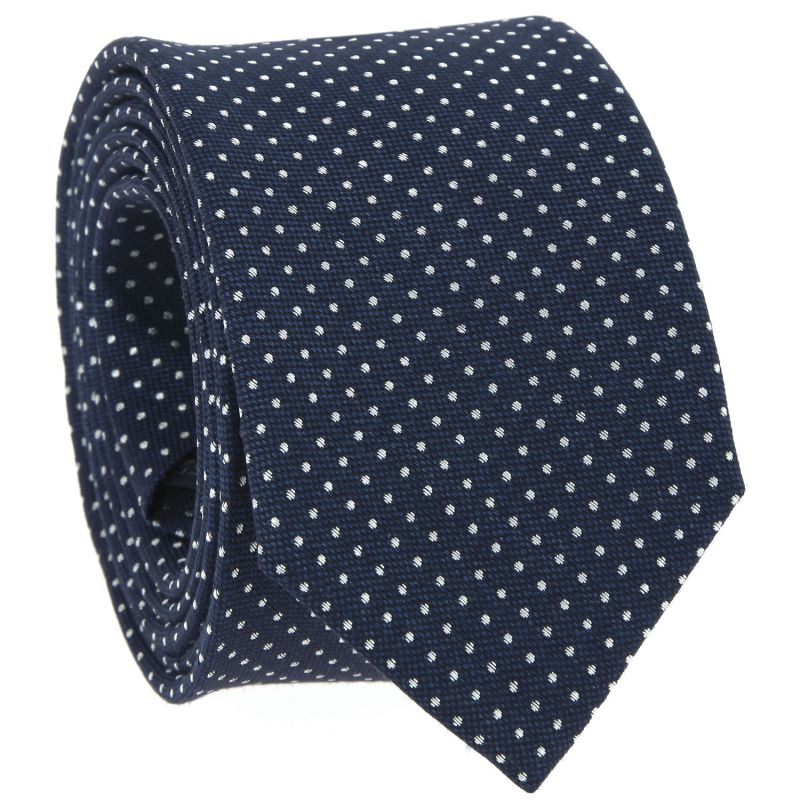 Navy Blue Tie with White Small Dots in Linen and Silk Basket Weave