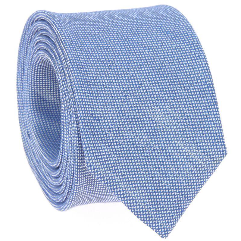 Light Blue Tie in Linen and Silk Basket Weave