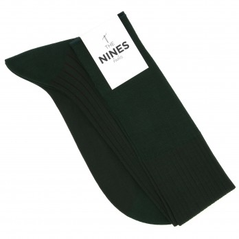 Lisle cotton green and burgundy knee highs
