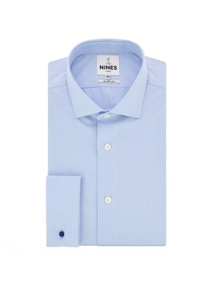 Light blue shark collar houndstoothFrench cuff shirt