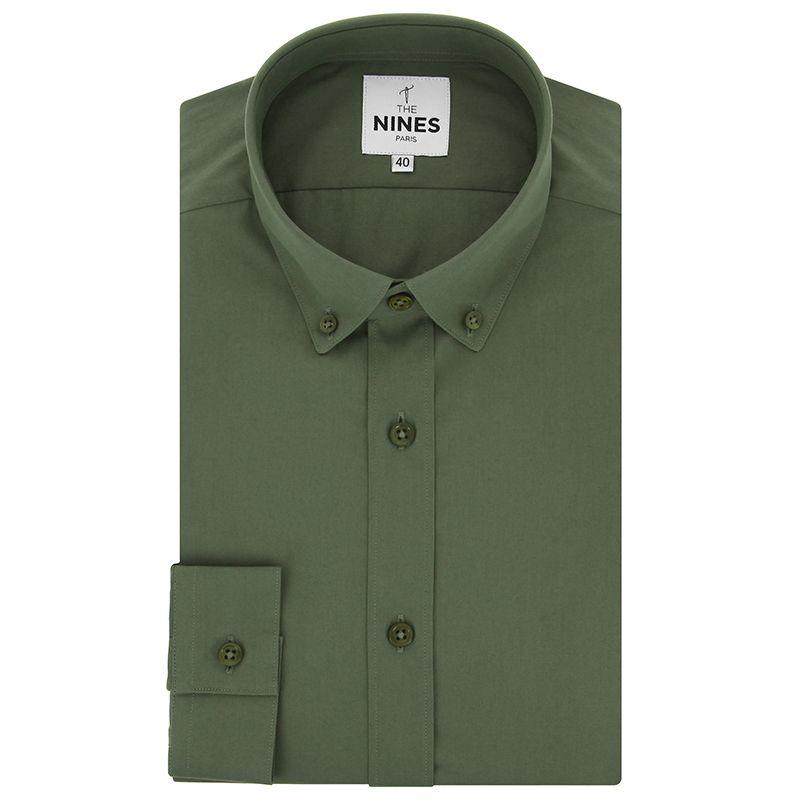 Kakhi green button down collar poplin shirt with american placket