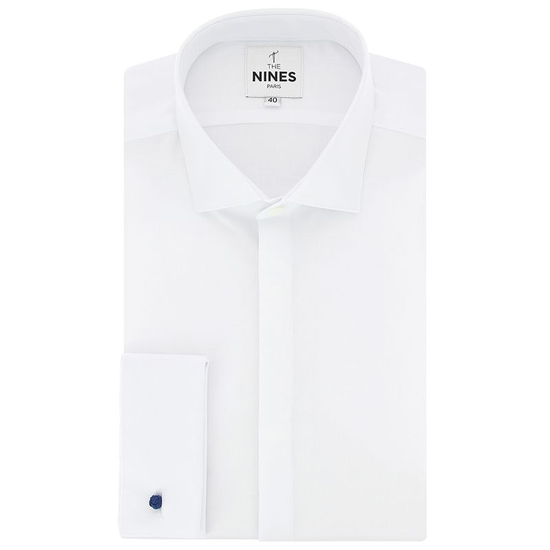 White shark collar basketweave oxford French cuff shirt with hidden placket