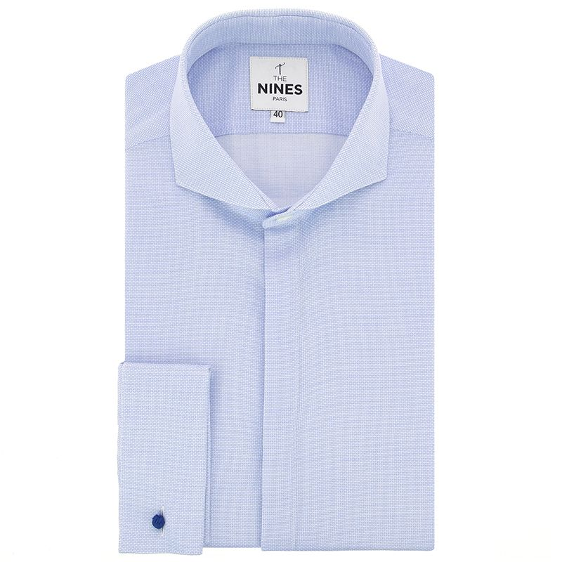Light blue cutaway collar honeycomb French cuff shirt with hidden placket