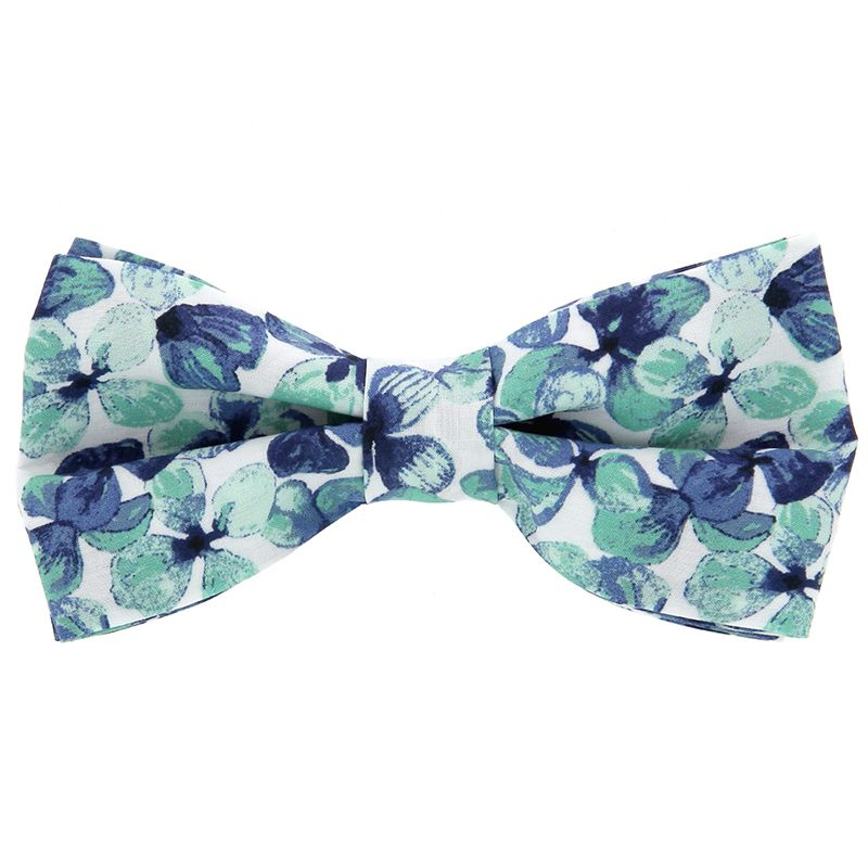 Liberty Bow Tie with Navy Blue and Water Green Flowers