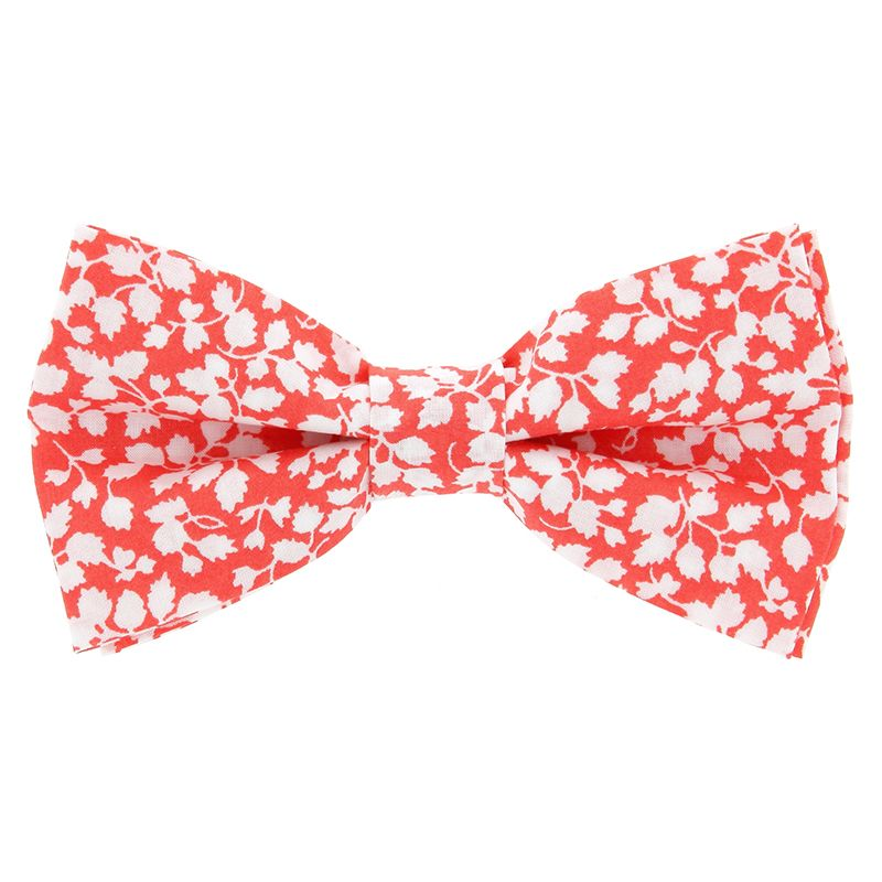Coral Liberty Bow Tie with White Flowers