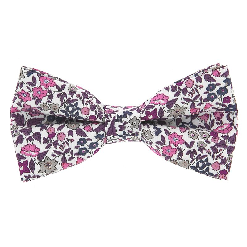 Pink Liberty Bow Tie with Flowers