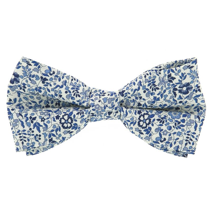 Blue Liberty Bow Tie with Flowers