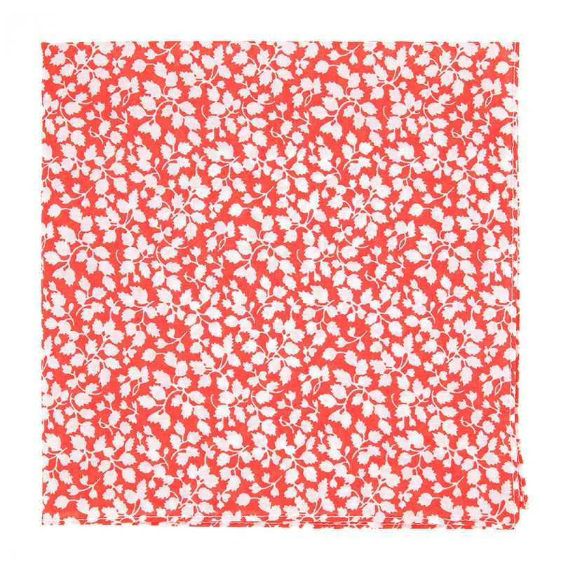Coral Liberty Pocket Square with White Flowers