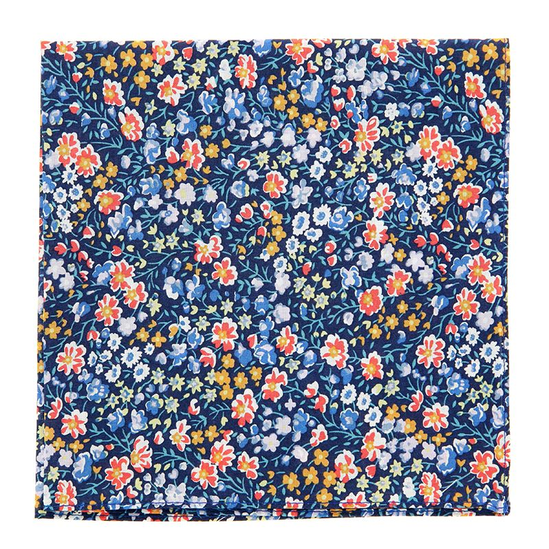 Navy Blue Liberty Pocket Square with Flowers