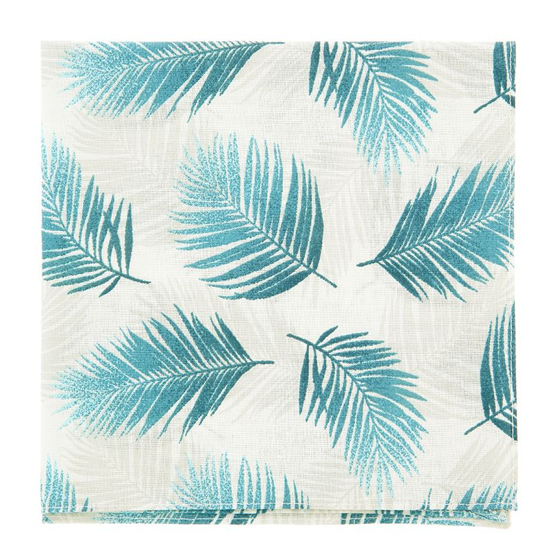 White Pocket Square with Petrol Green Tropical Leaf in Cotton
