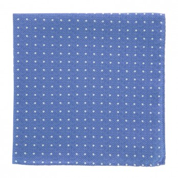 Light Blue Pocket Square with White Dots in Printed Silk