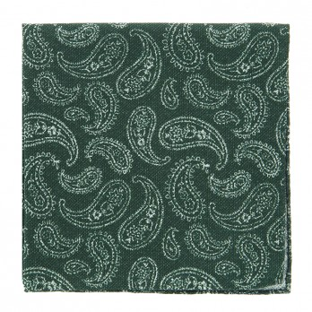 Green Pocket Square with White Paisley Pattern in Printed Silk
