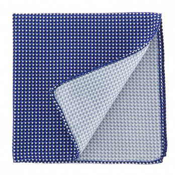 Navy Blue Pocket Square with Geometric Pattern in Printed Silk