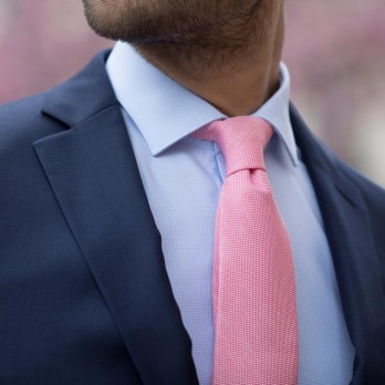 Pink Tie in Basket Weave Linen and Silk - Bergame