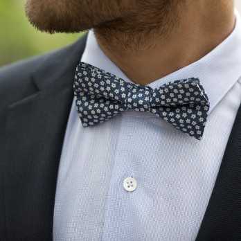 Navy Blue Bow Tie with White Small Flowers in Printed Silk