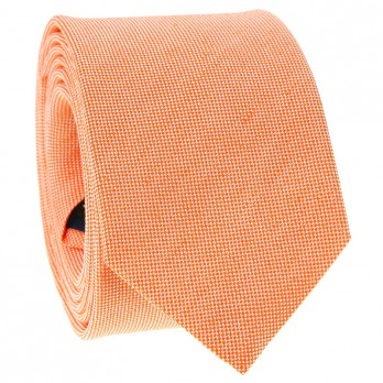 Light Orange Tie in Silk and Linen Basket Weave