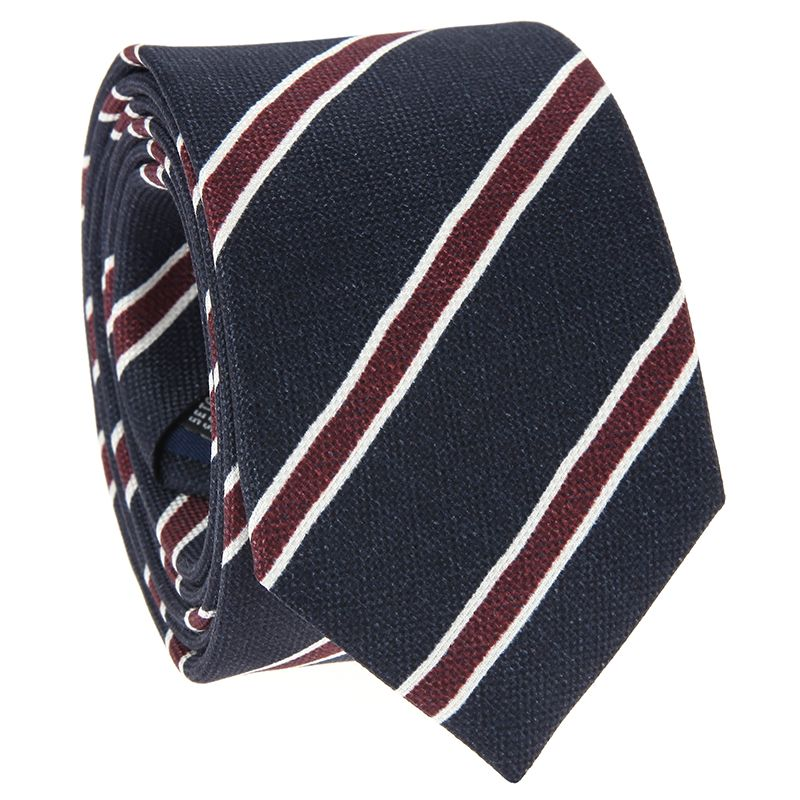 Navy Blue Tie with Burgundy and White Stripes in Printed Silk